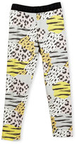 Kenzo Bess Animal-Print Stretch Jersey Leggings, Pink/Multicolor, Size 8-12