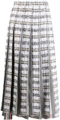 Thom Browne plaid ribbon tween pleated skirt