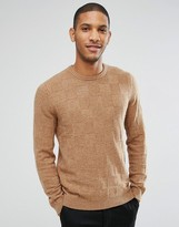 Asos Lambswool Rich Sweater with All Over Texture in Camel