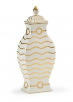The Well Appointed House Hand Decorated White Porcelain Ring Vase with Gold Waves & Ring Details-CURRENTLY ON BACKORDER