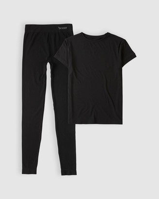 Boody Organic Bamboo Eco Wear Black Crew-Neck Tee and Full Leggings