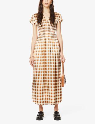 Ganni Checked ruched stretch-silk midi dress