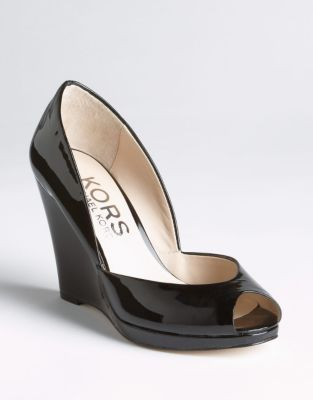 KORS Vail Patent Leather Wedge Pumps