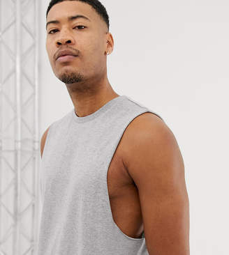 Asos Design DESIGN Tall relaxed sleeveless t-shirt with dropped armhole in gray marl