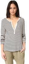 Pam & Gela Long Sleeve Stripe Henley Tee