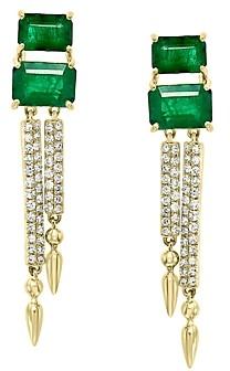 Bloomingdale's Emerald & Diamond Drop Earrings in 14K Yellow Gold - 100% Exclusive
