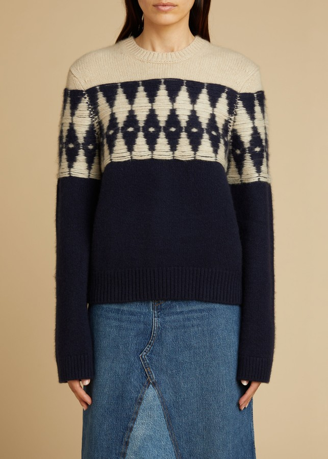 KHAITE The Romme Sweater in Navy and Butter