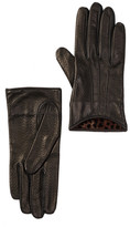 Portolano Perforated Pleated Leather & Silk Gloves
