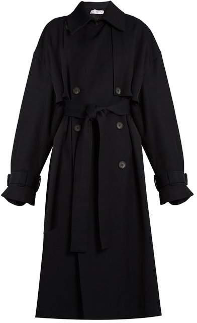 Raey Displaced Sleeve Oversized Twill Trench Coat - Womens - Navy