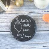 Chalk and Cheese Christmas Santa's Milk Engraved Personalised Coaster