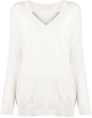 Fabiana Filippi Fine Knit Cashmere-Virgin Wool-Silk Blend V-Neck Jumper
