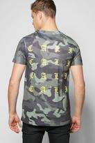 Boohoo Camo T-shirt With Cali Back Print
