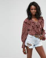 Boohoo Tie Cuff Floral Blouse
