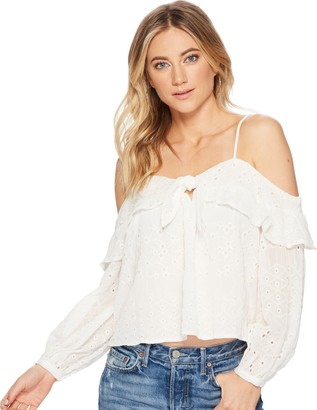 ASTR the Label Women's Kimberly Cold Shoulder Tie Front Long Sleeve Eyelet Ruffle Top