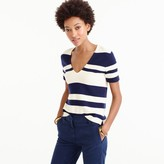 J.Crew Wool striped short-sleeve V-neck sweater
