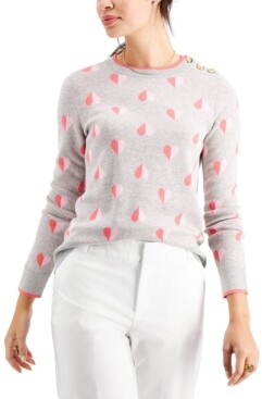 Charter Club Petite Printed Jacquard Button-Shoulder Sweater, Created for Macy's