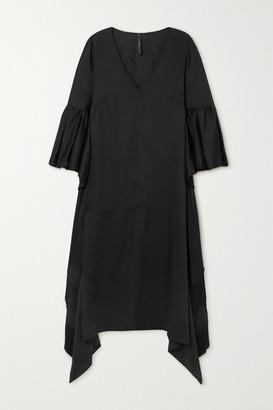 Mother of Pearl Net Sustain Melody Fringed Draped Lyocell Midi Dress - Black