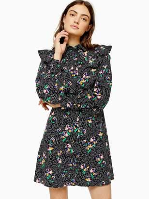 Topshop Floral Yoke Mini Dress - Multi