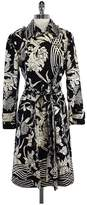 Tracy Reese Black & White Floral Silk Coat