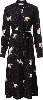 Ya-Ya Maxi Dress with Japanese Swan Print - 40 (12) | viscose | black | cream and toffee - Black/Black