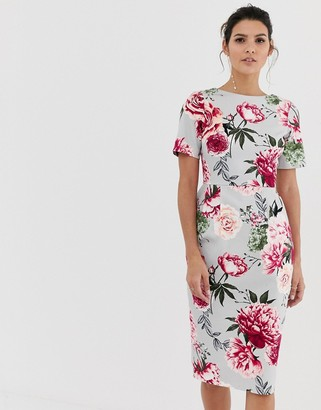 Asos Design DESIGN wiggle midi dress in floral print-Pink