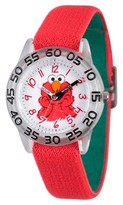 Sesame Street Boys' Clear Plastic Time Teacher Watch - Red