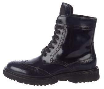 Prada Sport Leather Brogue Ankle Boots
