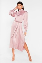 Thumbnail for your product : Nasty Gal Womens Satin High Neck Belted Midi Dress - Purple - 6
