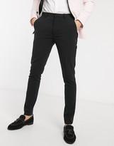 Asos Design DESIGN super skinny suit trousers in black with satin side stripe
