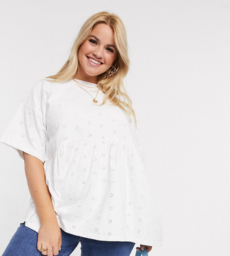 Asos DESIGN Curve smock top in all over broidery