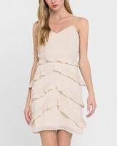 Express Endless Rose Dot Print Ruffle Mini Dress