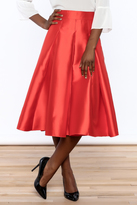 Ark & Co Red Pleated Midi Skirt