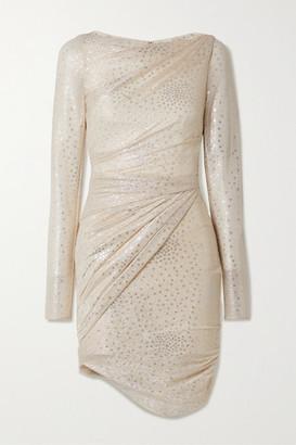 Talbot Runhof Botanic1 Ruched Metallic Voile Mini Dress - Cream