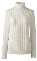 Classic Women's Cotton Cable Turtleneck Sweater-Ivory
