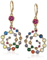 """Betsey Johnson Confetti"""" Mixed Multi-Colored Stone Spiral Drop Earrings"""
