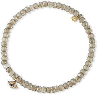 Sydney Evan 14k Quartz and Diamond Evil Eye Bracelet