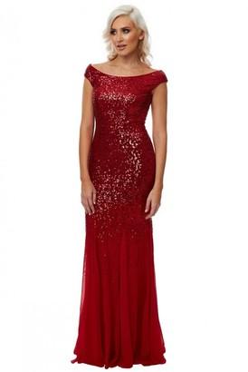 Linzi Goddiva Stephanie Pratt Red Sequin Chiffon Maxi Dress