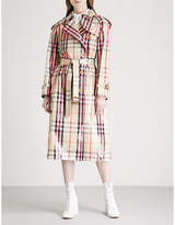 Burberry Eastheath checked patent cotton-blend trench coat