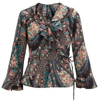 Etro Flounced Paisley-print Silk-georgette Wrap Blouse - Black Multi