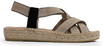 Kanna Craster Beige Elasticated Cross Strap Espadrille Sandals