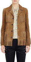 Saint Laurent Women's Fringed Suede Curtis Jacket-TAN