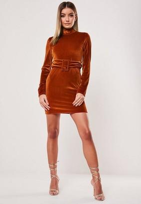 Missguided Rust Velvet High Neck Belted Mini Dress