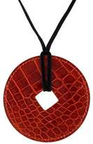 Hermes Patent Alligator Tsuba Pendant Necklace