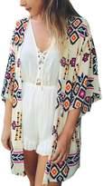 Bai You Mei Women's Floral Chiffon Beachwear Cover-ups Kimono Cardigan Outfit