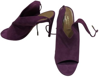 Aquazzura Purple Suede Sandals