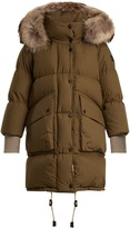 Burberry Fur-trimmed quilted-down cotton coat