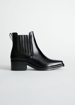 And other stories Square Toe Leather Ankle Boots