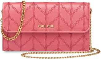 Miu Miu Logo Plaque Wallet With Shoulder Strap