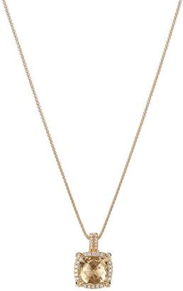 David Yurman 'Chatelaine' diamond citrine 18k yellow gold pendant necklace