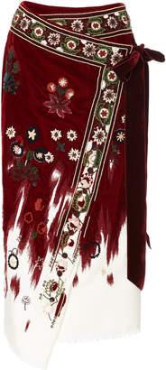 Oscar de la Renta Embroidered Velvet-Trimmed Wool Wrap Skirt